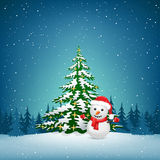 The Christmas snowman and spruce Stock Photo