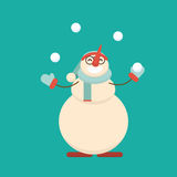 Christmas snowman standing with his hands with arms spread. Christmas snowman standing and juggling snowballs. Cute cartoon cheerful and smiling snow man Royalty Free Stock Photo