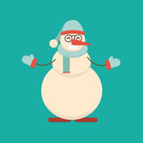Christmas snowman standing with his hands with arms spread to si. Des and ready for hug. Cute cartoon cheerful and smiling snow man character raising arms. Flat Stock Images