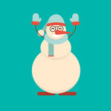 Christmas snowman standing with his hands up. Cute cartoon cheer. Ful and smiling character raising arms. Xmas holiday flat style vector illustration Royalty Free Stock Photos