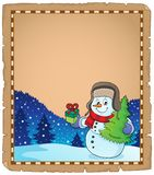 Christmas snowman subject parchment 4 vector illustration
