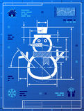 Christmas snowman symbol as blueprint drawing Royalty Free Stock Photography