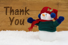Christmas Snowman with text Thank You stock photo
