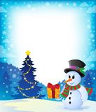 Christmas snowman theme image 2 Royalty Free Stock Image