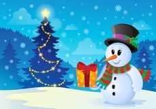 Christmas snowman theme image 1 Royalty Free Stock Photography