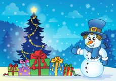 Christmas snowman theme image 4 Royalty Free Stock Image