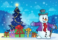 Christmas snowman theme image 6 Stock Photos
