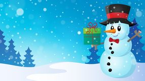 Christmas snowman theme image 7 Stock Photography