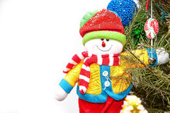 Christmas snowman in a three Stock Photo