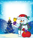 Christmas snowman topic image 4 Royalty Free Stock Images
