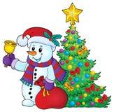 Christmas snowman topic image 3 Stock Photo