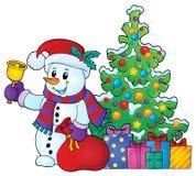 Christmas snowman topic image 6 Royalty Free Stock Photo