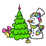Christmas snowman tree rainbow illustration Stock Image
