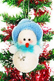 Christmas snowman on the tree. Stock Image