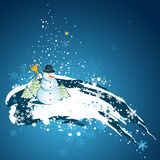 Christmas with snowman, vector Stock Image