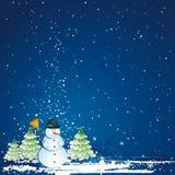 Christmas with snowman, vector Royalty Free Stock Photos