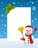 Christmas Snowman Vertical Frame. Christmas vertical photo frame with a cute cartoon snowman holding a broom, smiling and greeting on the snow. Eps file Stock Photo
