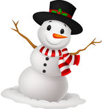 Christmas Snowman wearing a Hat and red scarf Stock Photo