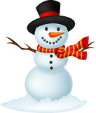 Christmas Snowman wearing a Hat and red scarf Royalty Free Stock Photo