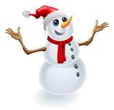 Christmas Snowman Wearing Santa Hat Royalty Free Stock Photos