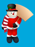 Christmas Snowman wearing a santa suite holding banner Stock Images