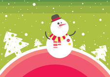 Christmas snowman. With white winter trees on green background. Colored vector illustration. EPS 10.0. RGB. Illustration can be used as template for events Royalty Free Stock Photos