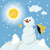 Christmas snowman Winter Fun vector 2015 retro. Art illustration Royalty Free Stock Photography
