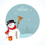 Christmas snowman on winter landscape background Royalty Free Stock Photo