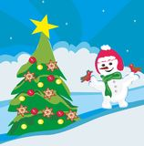 Christmas snowman in winter Royalty Free Stock Images