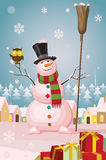 Christmas snowman in winter village landscape Stock Photography