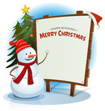 Christmas Snowman And Wood Sign Background Royalty Free Stock Image