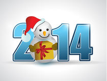 2014 christmas snowman year sign illustration Royalty Free Stock Image