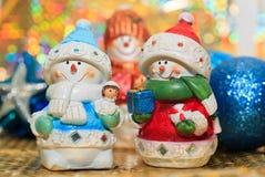 Christmas snowmen stock photos