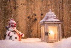 Christmas snowmen on abstract background Royalty Free Stock Photography
