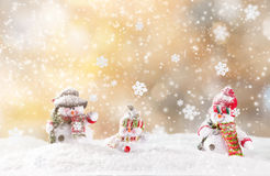 Christmas snowmen on abstract background Royalty Free Stock Photos