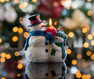 Christmas snowmen candle at xmas Stock Photos