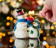Christmas snowmen candle at xmas Royalty Free Stock Photography