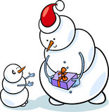 Christmas snowmen cartoon illustration Royalty Free Stock Photos