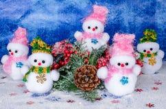 Christmas snowmen, decoration and beautiful toys. Royalty Free Stock Photos