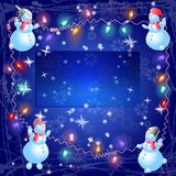 The christmas snowmen hang out the bulb. The christmas  snowmen vector illustration hang out the bulb Stock Images