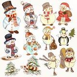 Christmas snowmen set for design Stock Image