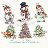 Christmas snowmen set for design. Christmas hand drawn set from cute funny snowmen and Xmas trees for design royalty free illustration