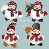 Christmas snowmen set for design Royalty Free Stock Photos