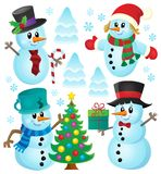 Christmas snowmen theme collection 1 Royalty Free Stock Image