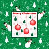 Christmas snowmen and trees Royalty Free Stock Photo