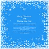 Christmas snows`s frame with text isolated on blue background. Happy New Year. Eps 10. Vector illus. Tration stock illustration