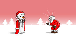 Christmas-snowsanta. Santa is laughing about a snowman version of him that he built stock illustration