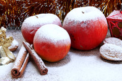 Christmas snowy apples Stock Image