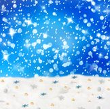 Christmas snowy background with blue stars Royalty Free Stock Photo