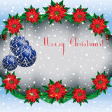 Christmas  snowy background frame with fir branches and flowers poinsettia and Christmas balls. Stock Images